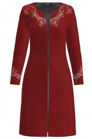 Jacheta de dama rosie lunga imprimata cu model floral CMD1310