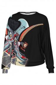 Bluza tip hanorac din catifea cu imprimeu multicolor CMD1318