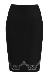 Fusta conica neagra cu imprimeu floral CMD1321