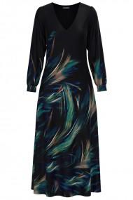 Rochie eleganta neagra cu maneca lunga si imprimeu multicolor CMD1327
