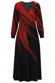 Rochie eleganta neagra cu maneca lunga si imprimeu Abstract CMD1329