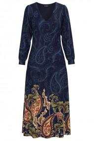 Rochie eleganta albastra cu maneca lunga si imprimeu Floral CMD1332
