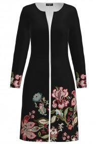 Jacheta de dama neagra lunga imprimata cu model floral CMD1338