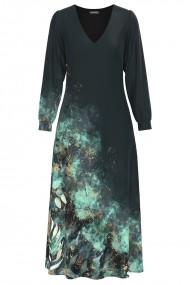 Rochie eleganta antracit cu maneca lunga si imprimeu Floral CMD1340