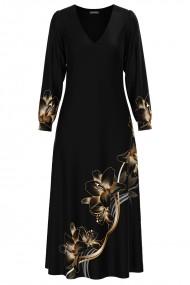 Rochie eleganta neagra cu maneca lunga si imprimeu Crini CMD1343