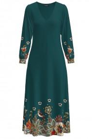 Rochie eleganta verde cu maneca lunga si imprimeu Floral CMD1346
