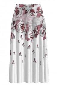Fusta alba lunga cu imprimeu floral CMD1351