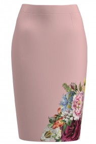 Fusta conica roz cu imprimeu floral CMD1353