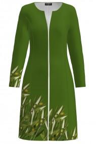 Jacheta de dama verde lunga imprimata ramuri de maslin CMD1362