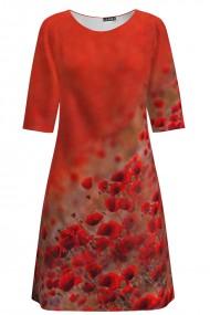 Rochie casual rosu corai imprimata maci CMD1375