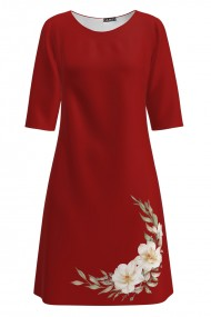 Rochie rosie casual imprimata cu model floral CMD1378