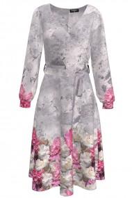 Rochie gri eleganta cu maneca lunga si imprimeu floral CMD1408