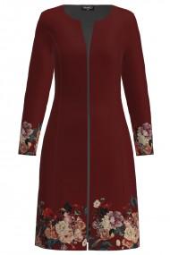 Jacheta de dama grena lunga imprimata cu model Floral CMD1414