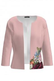 Sacou roz cambrat imprimat cu model floral CMD1416