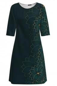 Rochie verde casual imprimata cu model floral CMD1420