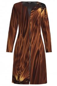 Jacheta de dama maro lunga imprimata cu model abstract CMD1422