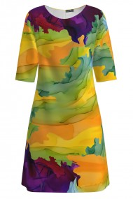 Rochie casual multicolora imprimata digital CMD1425
