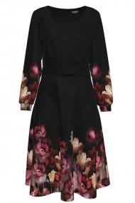 Rochie neagra eleganta cu maneca lunga si imprimeu floral CMD1473