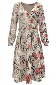 Rochie bej eleganta cu maneca lunga si imprimeu floral CMD1478