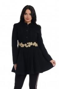 Palton din stofa cu broderie Dress To Impress Negru