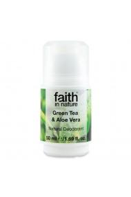 Deodorant roll on natural cu ceai verde si Aloe Vera Faith in Nature 50 ml