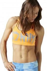 Bustiera sport femei reebok hero strappy bra portocaliu