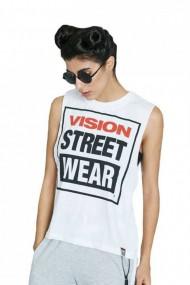 Tricou femei vision street wear crew vest alb
