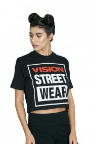 Tricou femei vision street wear cropped negru