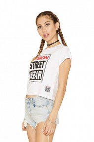 Tricou femei vision street wear cropped alb