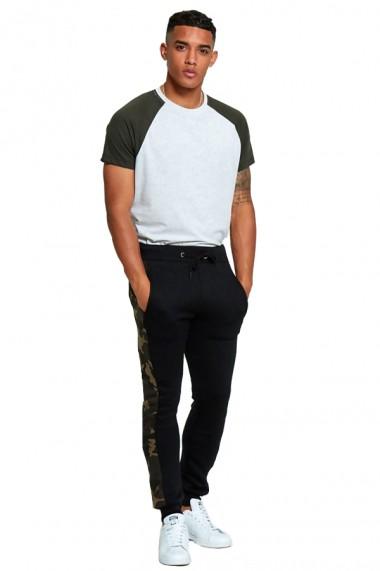 Pantaloni sport barbati j5 fashion tr111 camo stripe negru
