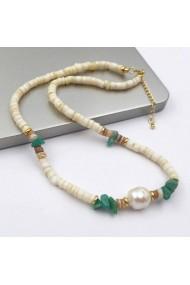 Colier Nisa cu perle de cultura si pietre semipretioase Amazonite