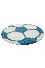 Covor Decorino Shaggy Fotbal Rotund Albastru 100x100 cm