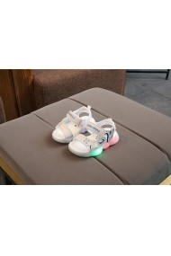 Sandale albe cu luminite pentru baietei