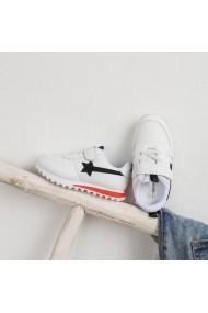 Adidasi albi pentru copii - Black Star