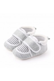 Pantofiori gri cu dungi albe