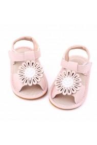 Sandalute roz pentru fetite cu floricica aplicata