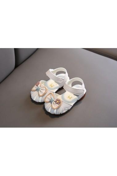 Sandale albe cu fundita