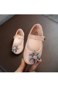 Pantofiori roz pudra cu floare aplicata