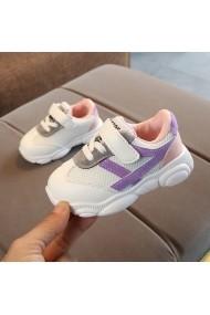 Adidasi albi cu dungi lila