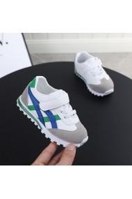 Adidasi albi cu dungi albastre si verzi