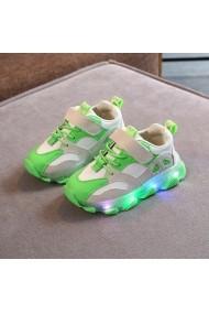Adidasi albi cu verde neon
