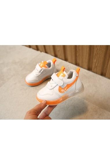 Adidasi albi cu insertie portocaliu neon