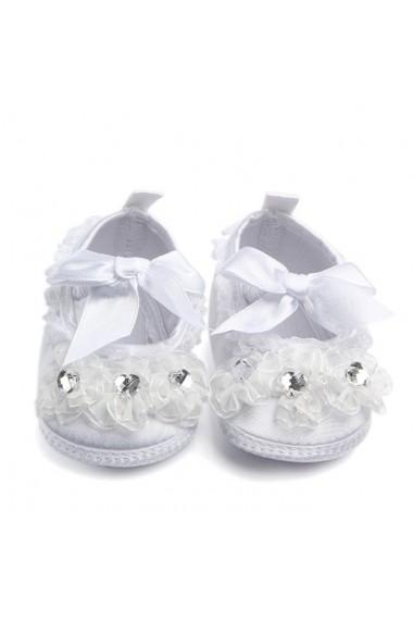 Pantofiori botez fetite albi