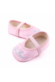 Balerini roz din saten pentru fetite