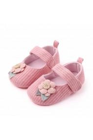 Pantofiori roz somon cu floricica roz aplicata