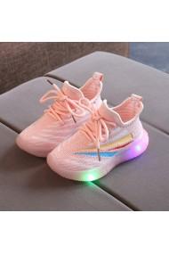 Adidasi roz somon cu insertii colorate si cu luminite