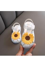 Sandale albe - Margareta galbena