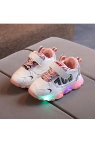 Adidasi albi cu roz cu luminite pentru fetite