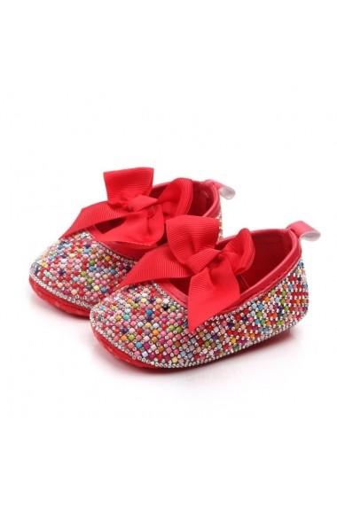Pantofiori Superbebeshoes de ocazie cu pietricele colorate si funda rosie MBD2137-3-Multicolor