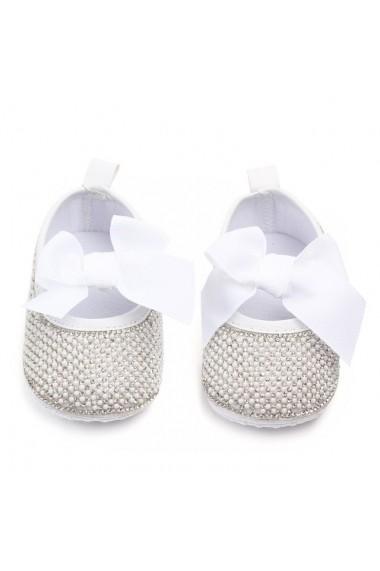 Pantofiori Superbebeshoes de ocazie cu perlute si strasuri MDD2132-2-Alb